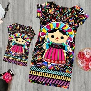 Mexican Doll Mini Dress with Otomi Print Bodycon